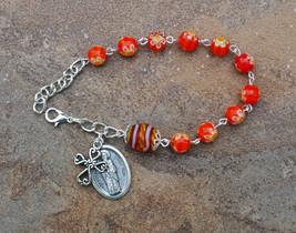Silver - St Servatus - 8mm Murano Glass One Decade Catholic Rosary Bracelet - $7.99