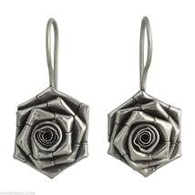 Handmade Sterling Silver Rose Flower Hook Earrings Fashion Jewelry - $23.93