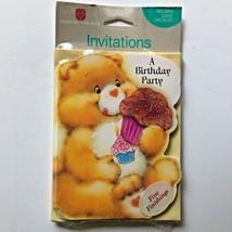 Vintage Care Bears Invitations Cupcake Birthday Party 8 American Greetings - $15.83