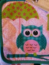 OWL KITCHEN SET 4pc Oven Mitt Potholder Dishcloths Turquoise Pink Bird NEW image 6