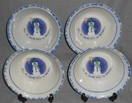 1998 Set (4) Atico International ALL IS CALM Soup/Cereal Bowls CHRISTMAS - $15.83