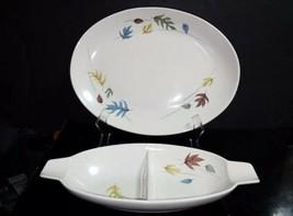 "2 Pc Vtg Franciscan AUTUMN Leaves - 13"" Oval Platter & Divided Vegetable Bowl - $19.79"