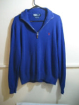 POLO RALPH LAUREN mens 1/4 zip pull-over sweater 100% cotton, size large - $30.49