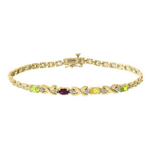 0.06 Carat Round Cut Diamond & Oval Shaped Gemstone Bracelet 14K Yellow Gold - $539.55