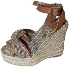 Tory Burch Florian Criss Cross Wedge Sandals Espadrille Embroidered 9 / ... - $89.99