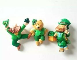 3 VTG Hallmark St. Patrick's Day Pins Dancing Bear Irish Leprechaun Shamrocks  - $15.44