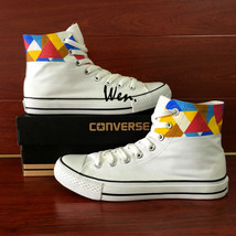 Original Geometric Figure Design Hand Painted Convese Shoes High Top Sne... - $149.00