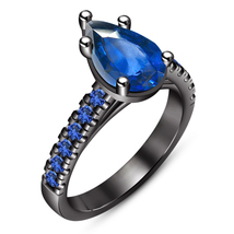 Solitaire With Accents Ring Pear Shape Blue Sapphire Black Gold Over 925... - $85.99