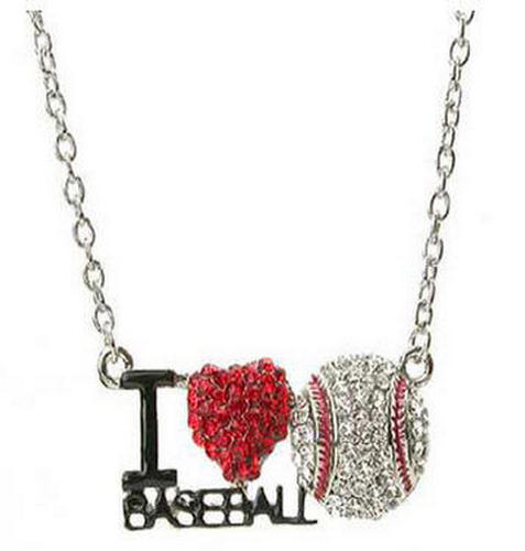 Bling Crystal Rhinestone Jewelry I Love Baseball Heart Pendant w Chain Necklace