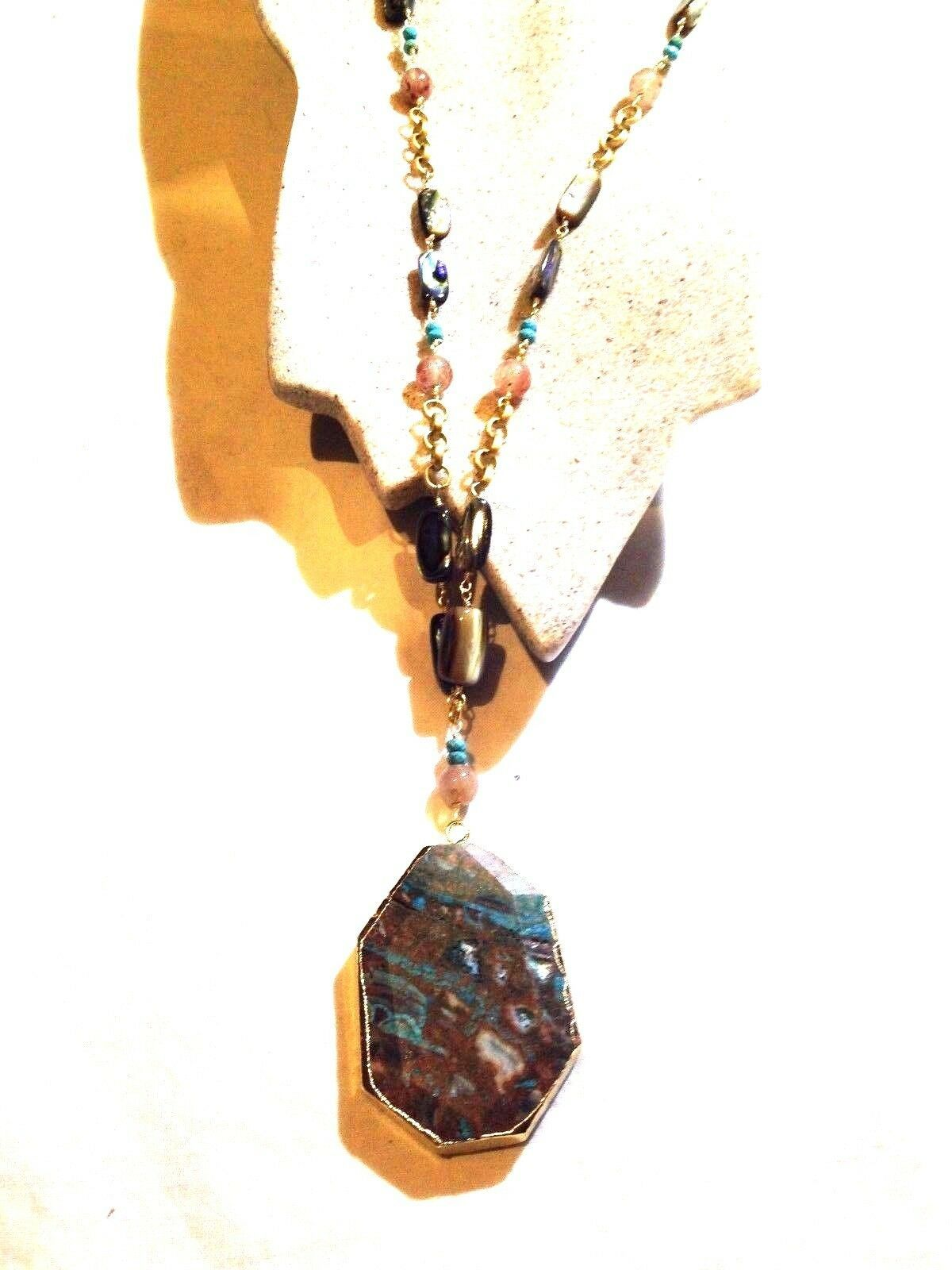 Vintage Real Turquoise Veined Agate Stone Hand Wrapped Beaded Golden Necklace