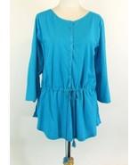 Lauren Ralph Lauren Plus Size 3X NEW Turquoise Draw Waist Cotton Knit Top - $31.00