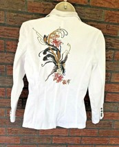 White Stretch Blazer Small Coat Embroidery Sequin Details Luii Anthropol... - $19.60