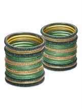 Lacquer Glass Wedding Bangles for women dark gr... - $64.00