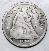 1846O Damaged but Authentic Seated Dollar $1 Silver Coin Lot# 918-3 - $140.21