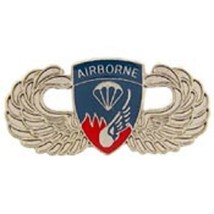 US Army 187th Airborne Wing Silver Badge Pin  - $7.91