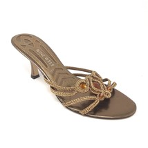 Nine West Gold Mules Heels 6.5 Cailey Amber Topaz Jewels Braided Strappy... - $19.70