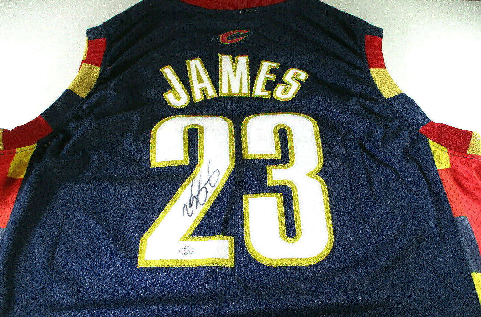 LEBRON JAMES / AUTOGRAPHED CLEVELAND CAVALIERS PRO STYLE BASKETBALL JERSEY / COA