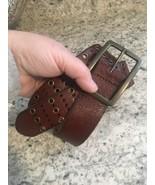 REI BELT Brown Leather Womens 9 Triple Grommet MEDIUM, MENS SMALL - $18.22