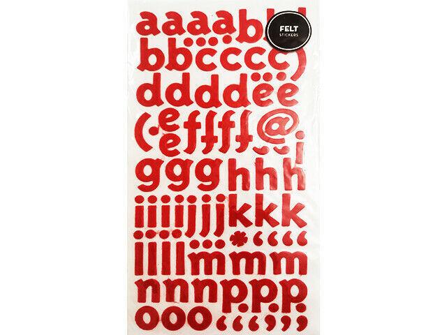 Red Felt Alpha and Number Sticker Set