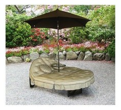Outdoor Double Chaise Lounge Large Patio Lounger Umbrella Shade Side Tab... - €228,37 EUR