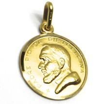 18K YELLOW GOLD MEDAL PENDANT, SAINT PIO OF PIETRELCINA 17mm VERY DETAILED image 2