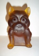 Amber Satin Glass French Bulldog Doorstop Large Figurine Westmoreland Mold - $130.90