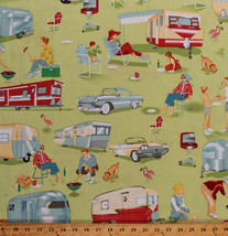 Camping Retro Campers Trailers Cars Green Cotton Fabric Print by Yard D3... - $11.95
