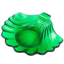 Anchor Hocking Glass Dessert Bowl Clam Shell Sea Shell Dish Emerald Green Vtg - $9.00