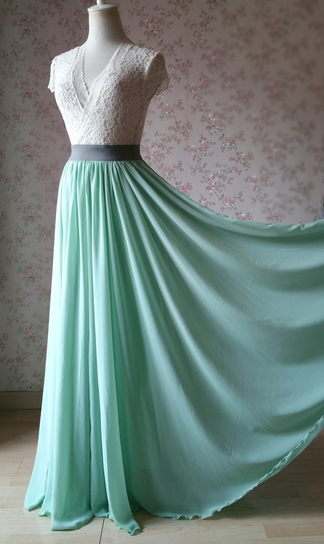 Sage green chiffon maxi skirt 5 780