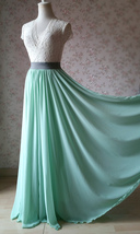 MINT GREEN Maxi Chiffon Skirts Mint Green Wedding Chiffon Skirt Plus Size image 7
