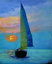 Sailing oil painting Sailing artwork  - $85.00
