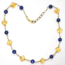 Necklace Silver 925, Yellow, Quartz Citrine Faceted, Kyanite, Pearls Round image 2