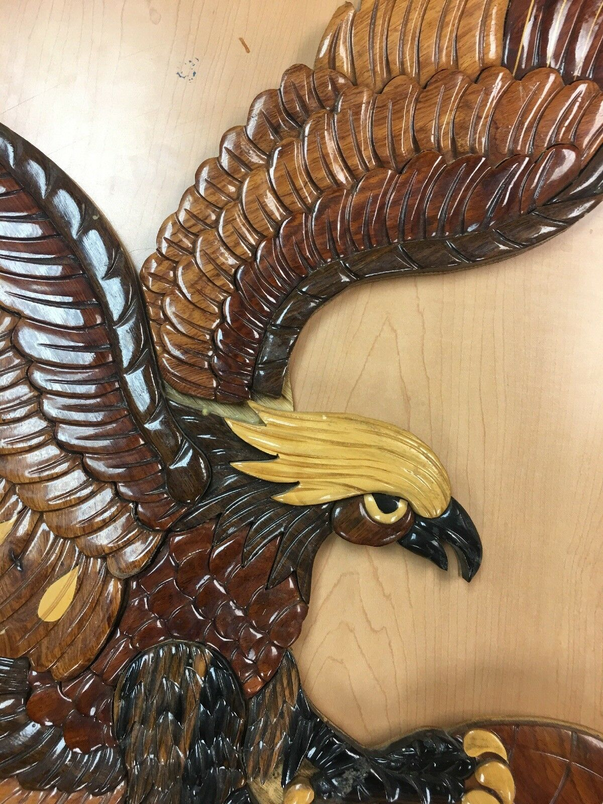 "Huge American Bald Eagle Vintage Wood Carving  Wingspan Globe World 29"" X 27"""