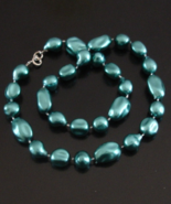 Vintage Metallic Teal Blue Necklace, Free Form Celluloid Beads, Hong Kong - $50.00