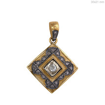 925 Sterling Silver 0.76 Ct Rose Cut Diamond Pave Square Shape Pendant 1... - $78.69