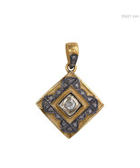 925 Sterling Silver 0.76 Ct Rose Cut Diamond Pave Square Shape Pendant 1... - $78.69
