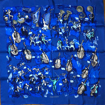 Hermes Scarf Stole CONCERTO Blue Silk Orchestra Auth New Unused Carre 90... - $513.12