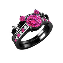 Black Gold Over Pink Sapphire & Diamond Mickey Mouse Bridal Engagement Ring Set - $95.98