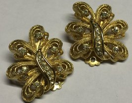 VTG 50s Clear Rhinestone Gold Tone Figural Clip On Earrings Wedding Occa... - $19.99