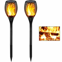 LED Solar Torch Lights Flickering Flames Tiki Torches Outdoor Waterproof - $37.95
