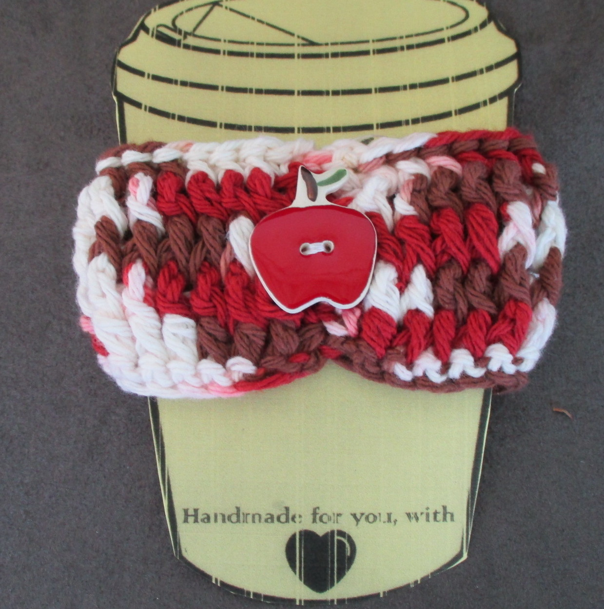 To Go Cup Cozy Sleeve in red brown and white with red ceramic apple shape button