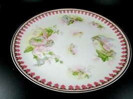 Vintage Haviland Limoges China Hand Painted Flowers Pink Trim Dinner Plate  - $14.85