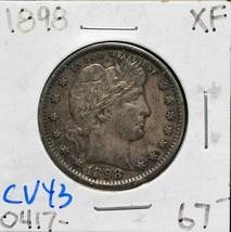 1898 Silver Barber Quarter Dollar 25¢ Coin Lot# CV43 image 1