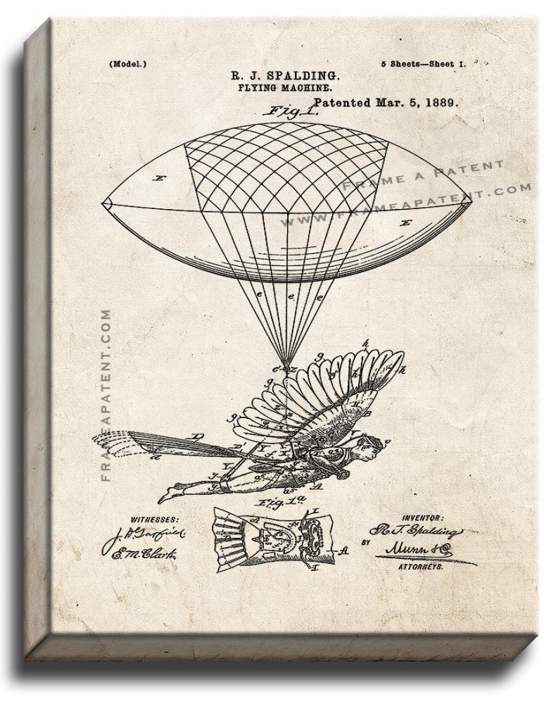 Primary image for Flying Machine Patent Print Old Look on Canvas