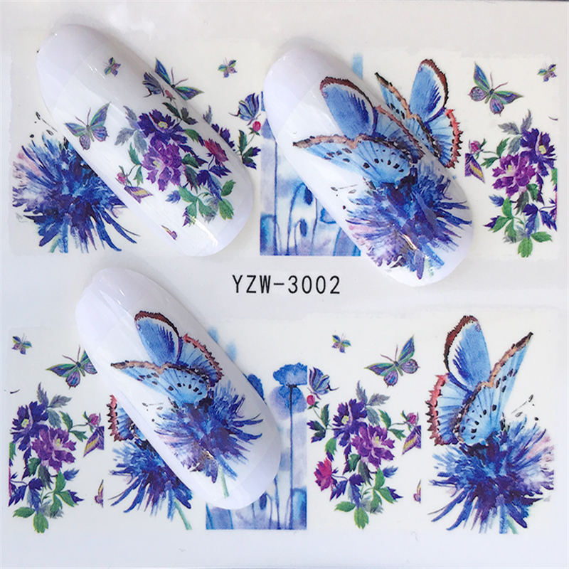 24pcs Watercolor Floral Flower Sticker Nail Decal
