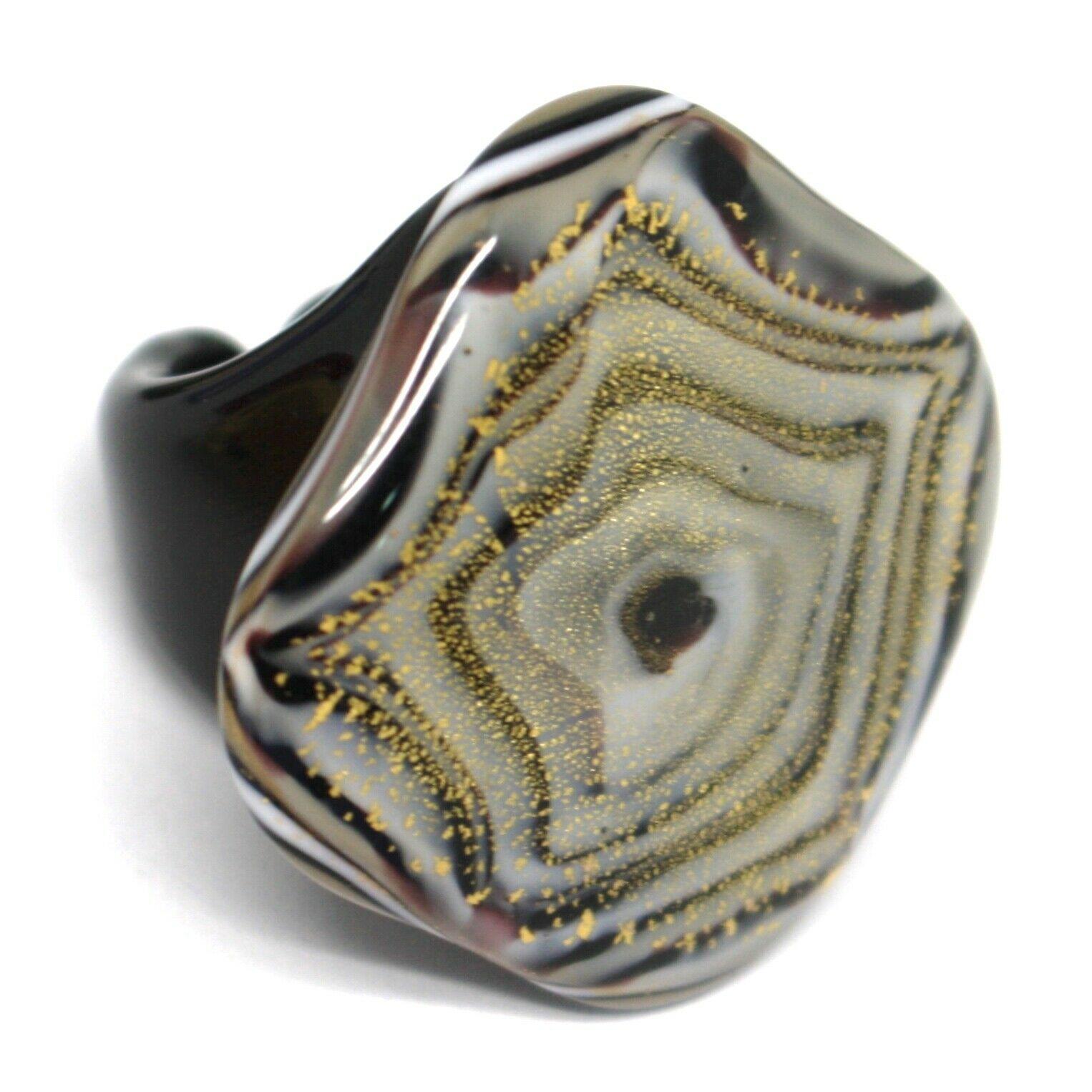 Ring Antica Murrina, Murano Glass, White Black Alternating, Square Big