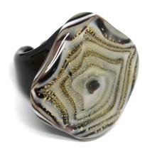 Ring Antica Murrina, Murano Glass, White Black Alternating, Square Big image 1