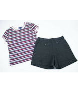 COPPER KEY LIMITED TOO GIRLS 10 RED BLACK STRIPED SHIRT & SHORTS 100% CO... - $11.87