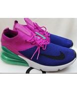 Nike Air Max 270 Flyknit Mens  Royal Fuchsia Running Shoes AO1023-401 Si... - $118.79