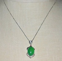 VTG Sterling Silver .925 Italy Green Glass Cabochon Clear CZ Rhinestone Necklace - $39.60